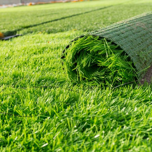rolled up artificial turf