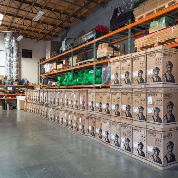 heating and air equipment stacked in the warehouse of Mauzy offices