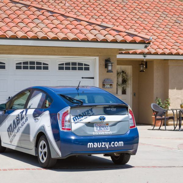 Mauzy vehicle at a customer's home for heating maintenance