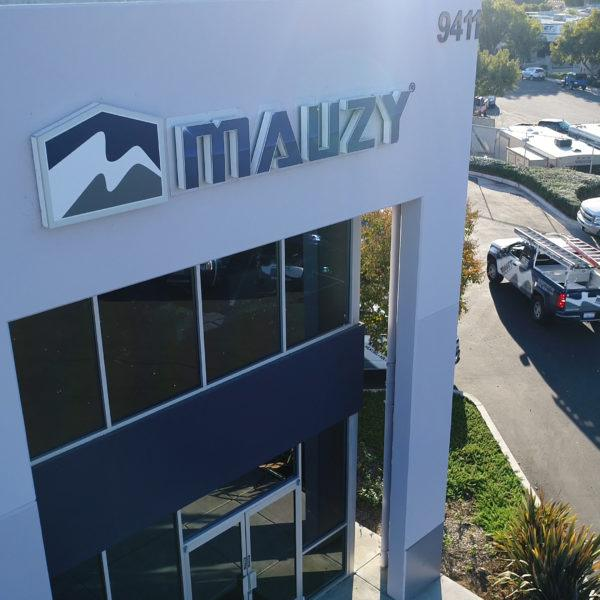 Mauzy signage on the exterior of the Mauzy offices